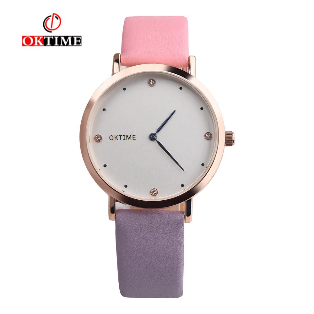 OKTIME 2020 New Casual Rainbow Design Leather Strap Analog Alloy Quartz Wrist Watch Relogios Feminino Sports Clock Drop Shipping
