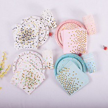 70PCS New Birthday Rose gold Disposable Party Tableware Set Paper Cups Plate Straws Napkin Kids Gifts Hot