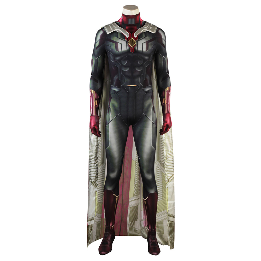New COS Avengers:Infinity War Vision Cosplay Costume Jumpsuit Halloween Costumes for Adult Men Superhero Cosplay Vision Costume