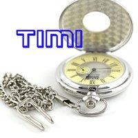 Wholesale Unique Silver Wood Roma Mechanical Pocket Watch Mi Dial