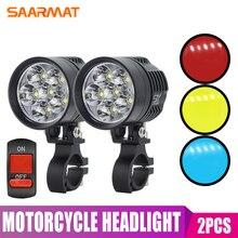2Pcs LED Motorcycle Headlight Bulbs Blue Red Yellow Lights Universal L6X Automobiles Spotlight Head lamp 8000lm 12V Fog