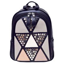 Preppy Style Women Backpack Geometric Patchwork High Quality PU Leather Backpacks for Teenagers Girls Female School Bags Mochila