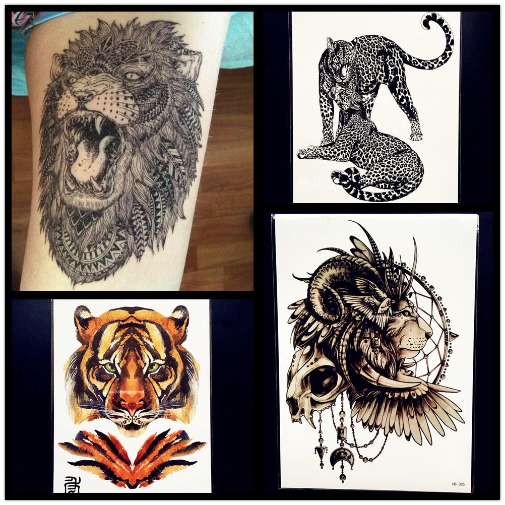 21x15CM Creative Lion Temporary Tattoo Sticker Men Waterproof Body ARm Tattoo Tiger Fake Flash Tattoo Leopard