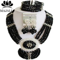 Majalia Fashion Nigeria Wedding African Beads Jewelry Set Black and Silver Crystal Necklace Bridal Jewelry Sets 6DN022