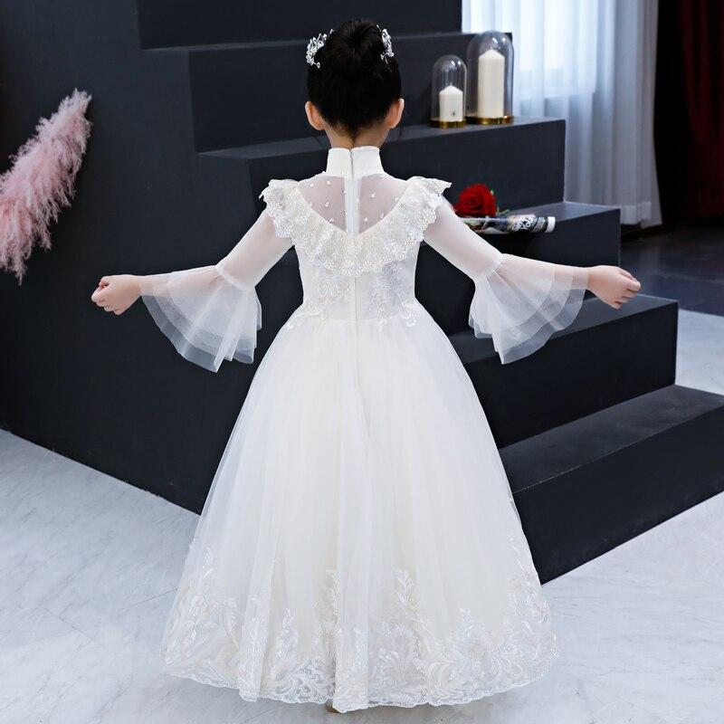 PrincessLong Sleeve White Flower Wedding Tulle Stand Collar Holy Communion Dress