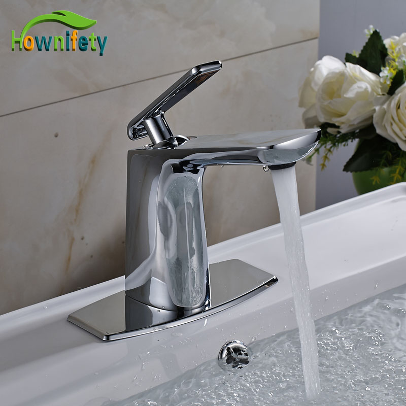 contemporary bathroom basin sink faucet single holder single hole with brass hole cover plate chrome Contemporary Chrome Solid Brass Bathroom Basin Faucet Single Handle Mixer Tap with Cover Plate