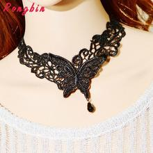 2017 New Statement Black Lace choker Necklace Women gothic butterfly vintage Bead Collar Necklaces Short Fine Jewelry
