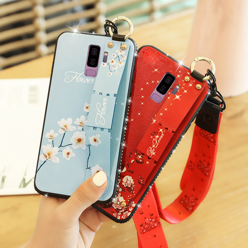 For Samsung Galaxy S7 S8 S9 Cover Wrist Strap Hand Band Case For Samsung S9 S8 Plus Cover TPU Side Drill Bracket Lanyard Case in Fitted Cases from Cellphones Telecommunications