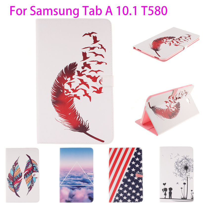 Fashion Leather Case For Samsung Galaxy Tab A A6 10.1 2016 T580 T585 T580N SM-T580 Cover Cases Tablet Funda Book Protector Capa fashion painted flip pu leather for samsung galaxy tab a 10 1 sm t580 t585 t580n 10 1 inch tablet smart case cover pen film