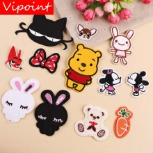VIPOINT embroidery cats rabbit bear patches bowknot fox badges applique for clothing YX-19