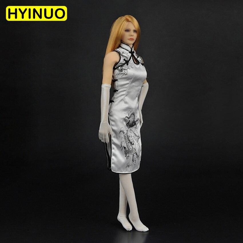 1/6 échelle femmes Sexy Tang costume femme blanc Dragon Cheongsam vêtements costume ensemble modèle pour 12 ''action Figure corps