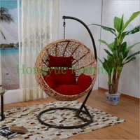 Patio Rattan Hammock With Stand And Cushions