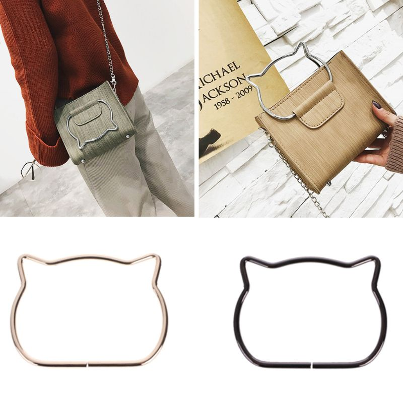 Fashion 1 Pc Cute Cat Ear Metal Bag Handle Replacement For DIY Shoulder Bags Making Handbag Part Accessories