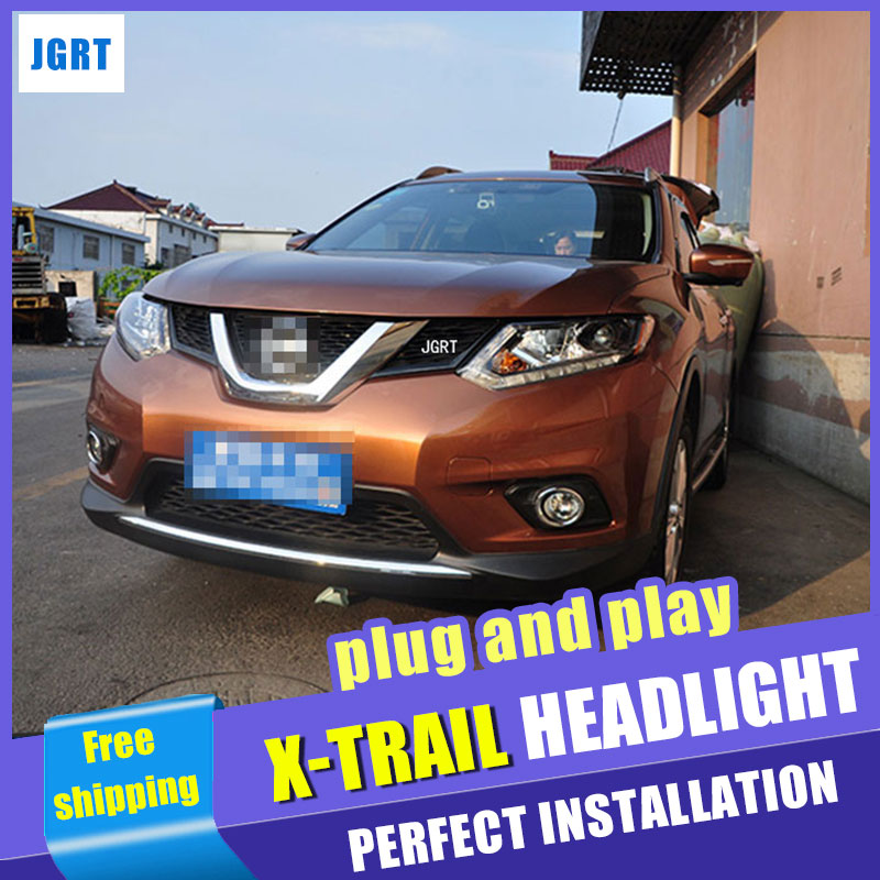 Car Styling  Headlights 2014-2015 for Nissan  X-Trail DoubleU Angel Eye LED DRL Lens Double Beam H7 HID Xenon bi xenon lens hireno headlamp for 2013 2015 nissan tiida headlight assembly led drl angel lens double beam hid xenon 2pcs