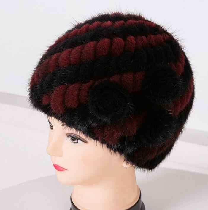 2020 nuovo Delle Donne del fiore Donne Russe cappello di Pelliccia Naturale di Lusso knit della pelliccia del visone del cappello del beanie di inverno cappello di pelliccia