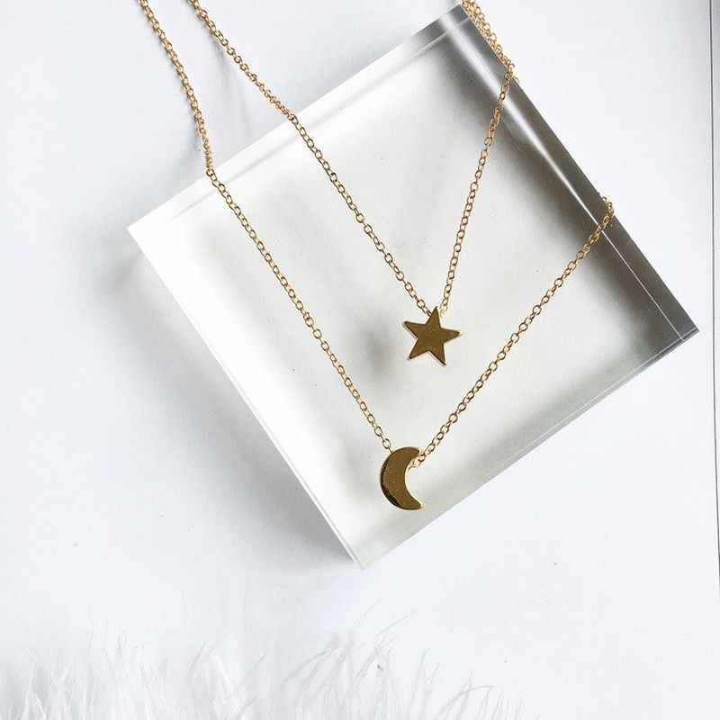 91b038b57a2 New Arrival Moon Star Design Long Pendant Necklaces For Women 2 Pieces/Set  Fashion Jewelry