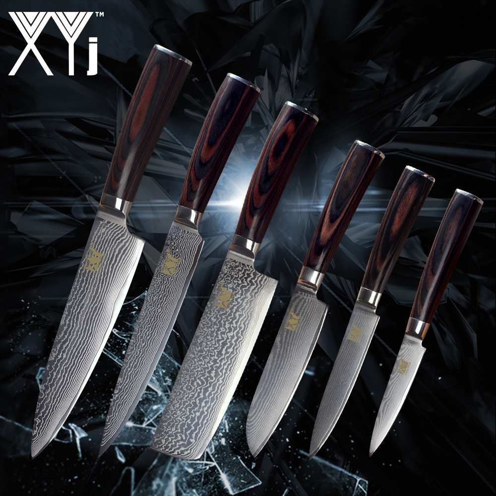 XYj New Arrival 2018 Damascus Knife Set VG10 Damascus Steel Color Wood Handle Knife Damascus Pattern