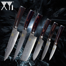 XYj New Arrival 2018 Damascus Knife Set VG10 Damascus Steel Color Wood Handle Knife Damascus Pattern Kitchen Accessories(China)