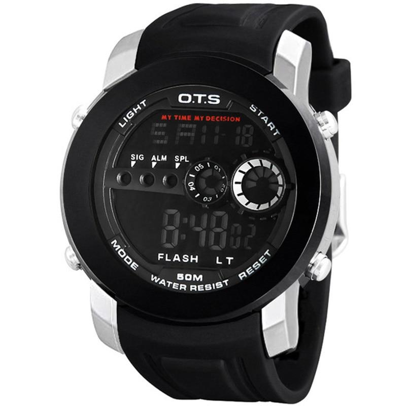 Sports Watches OTS Luxury Brand Men Fashion Outdoor 50M Waterproof Rubber Strap LED Digital Watch Relogio Masculino Wristwatches все цены