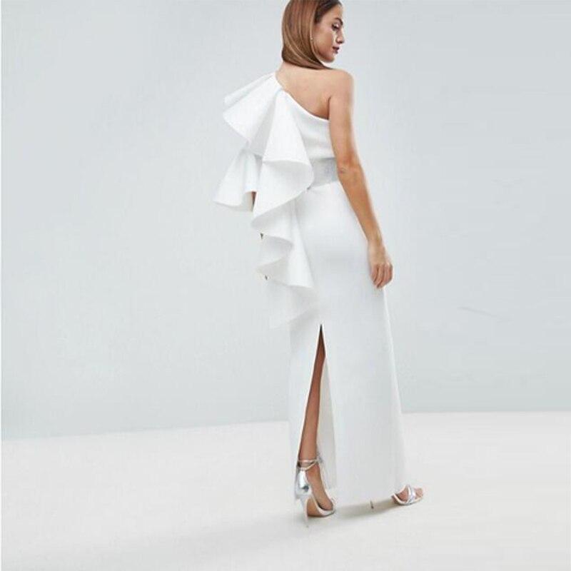 Blanc Ruches Vintage Longueur Satin Gaine Formelle Robes Une De Longue Étage Soirée Bal Épaule Femmes qEEwFTa