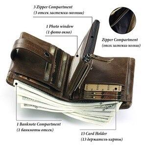 Image 4 - 2020 100% Genuine Leather Men Wallet PORTFOLIO Male Cuzdan Small Portomonee Perse Coin Purse Fashion Money Bag for Boys