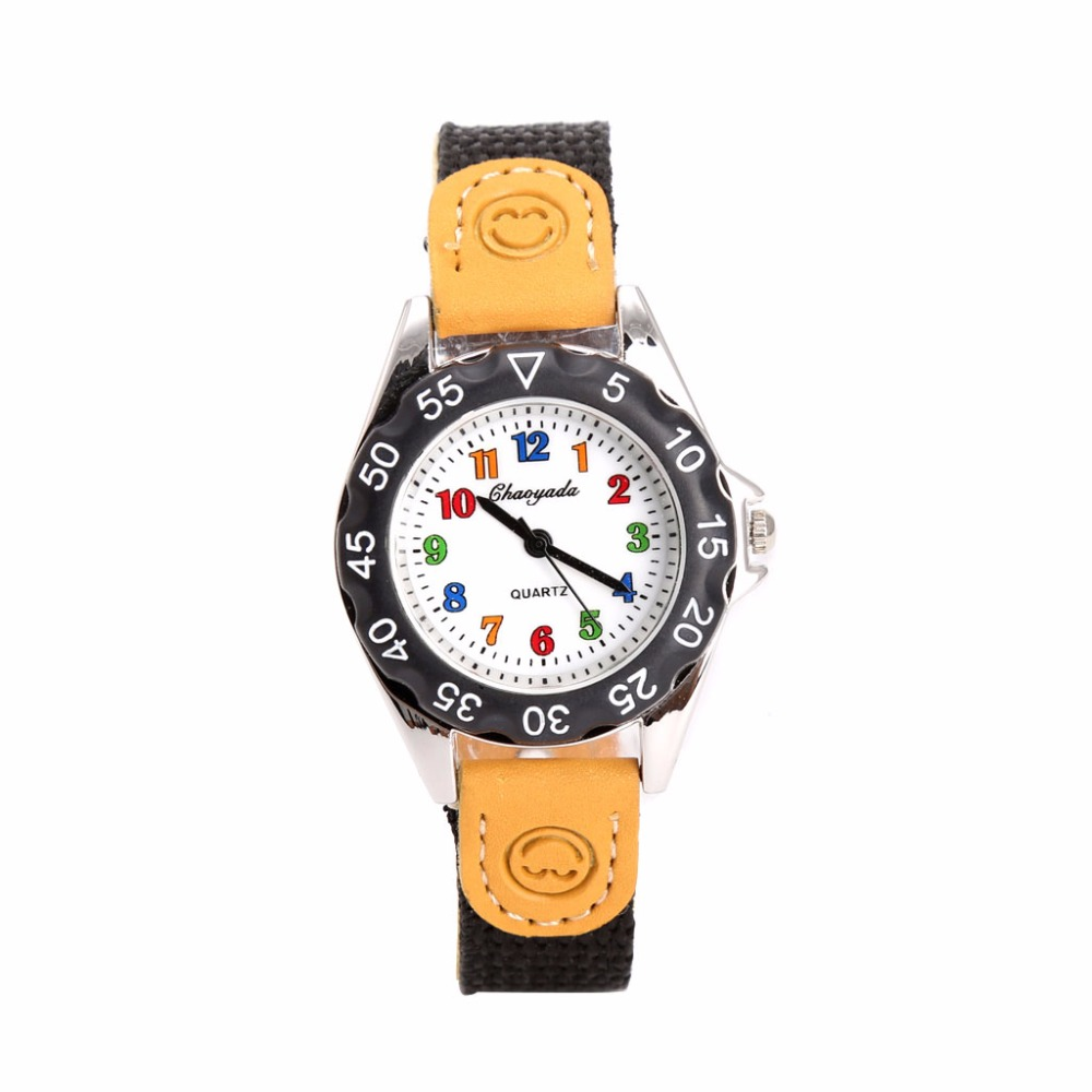 Boys Girls Quartz Watch Kids Students Wristwatch Gift Colorful Number Dial Clock Gai