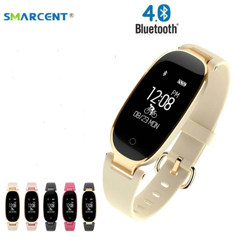 купить S4 Bluetooth Waterproof Lady Smart Watch Fashion Women Ladies Heart Rate Monitor Fitness Tracker S3 Smart band for Android IOS по цене 800.33 рублей