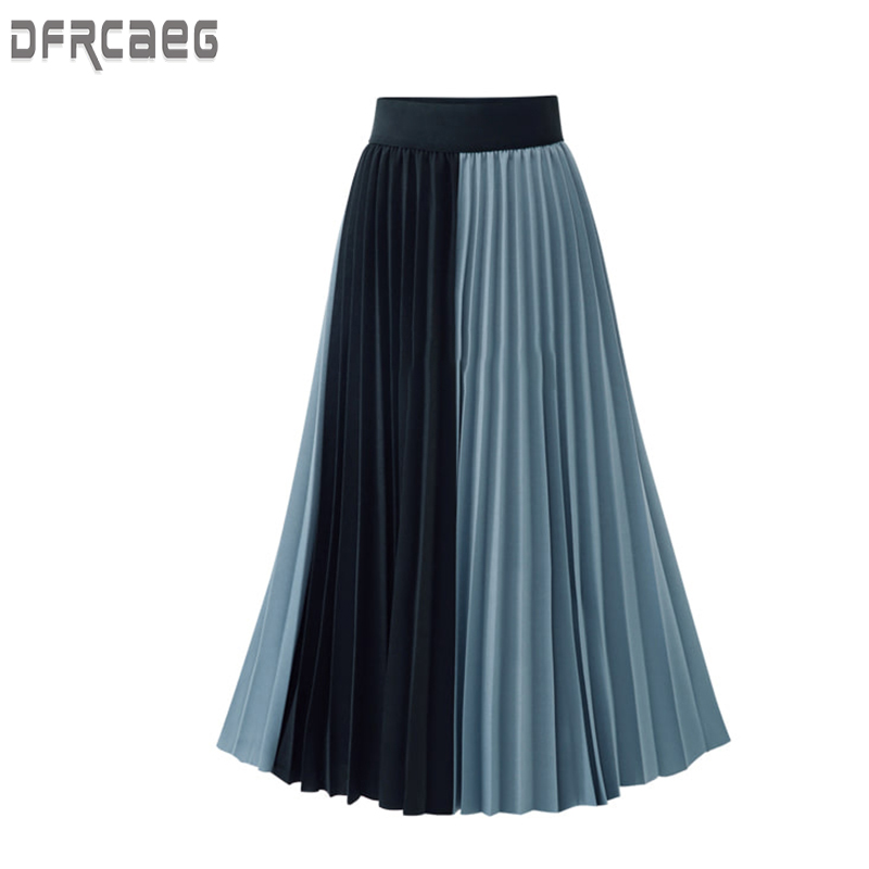 Summer 2019 New Arrivals Euro Style Midi Pleated Skirt For Women Blue Apricot Skirts Womens Elastic Waist Saia