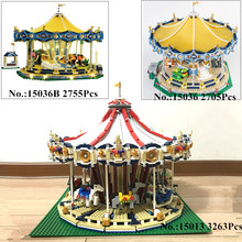 H HXY IN STOCK 15013 3263PCS 15036 2705 PCS 15036B with light City Street Carousel Model