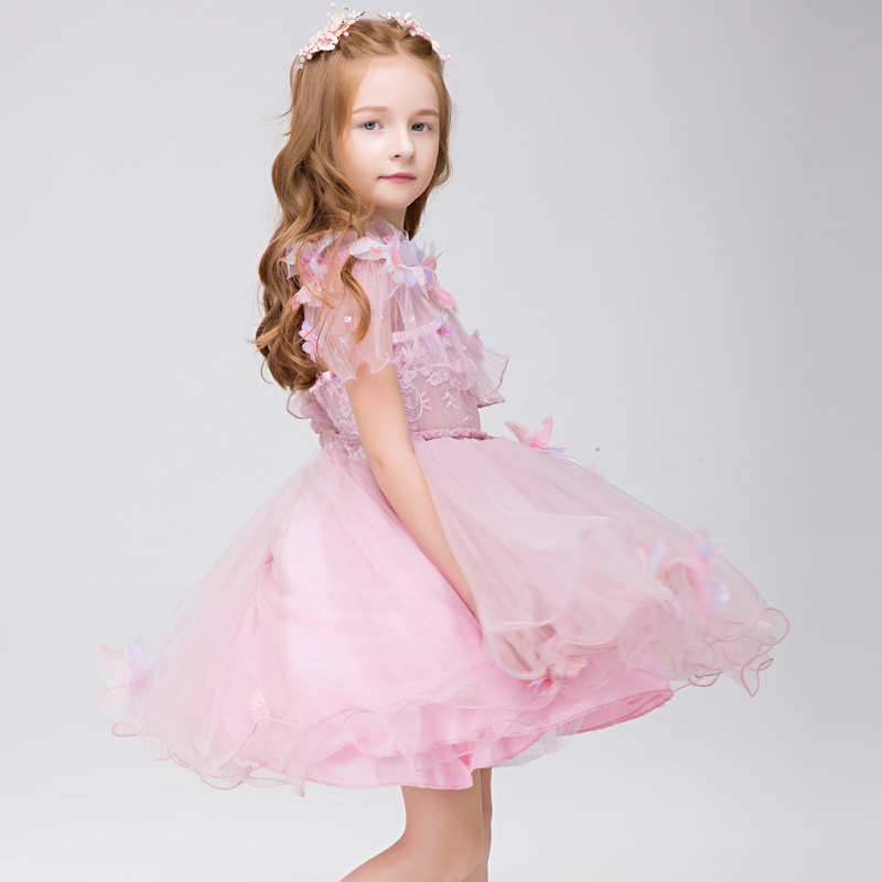 2017 Pink Tulle Vestidos de Niña Para Bodas Party Girls Princesa ...