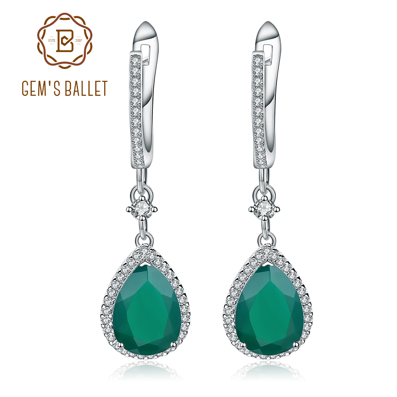 Gems Ballet Solid 925 Sterling Silver Fine Jewelry 4.42ct Natural Green Agate Onxy Drop Earrings For Women