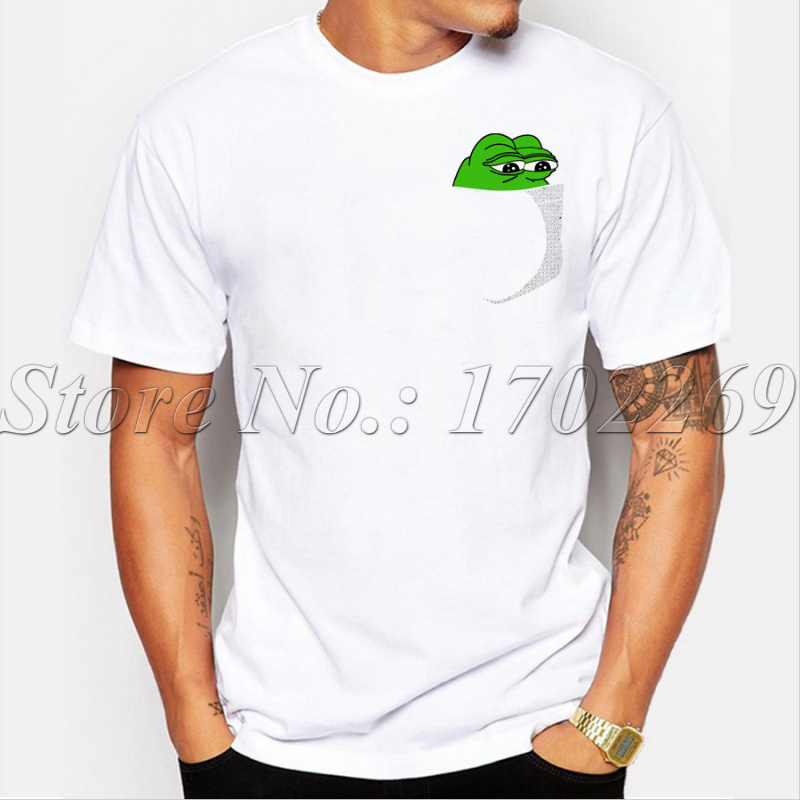 Funny Men Customized T Shirt Pepe In Your Pocket Design Cartoon