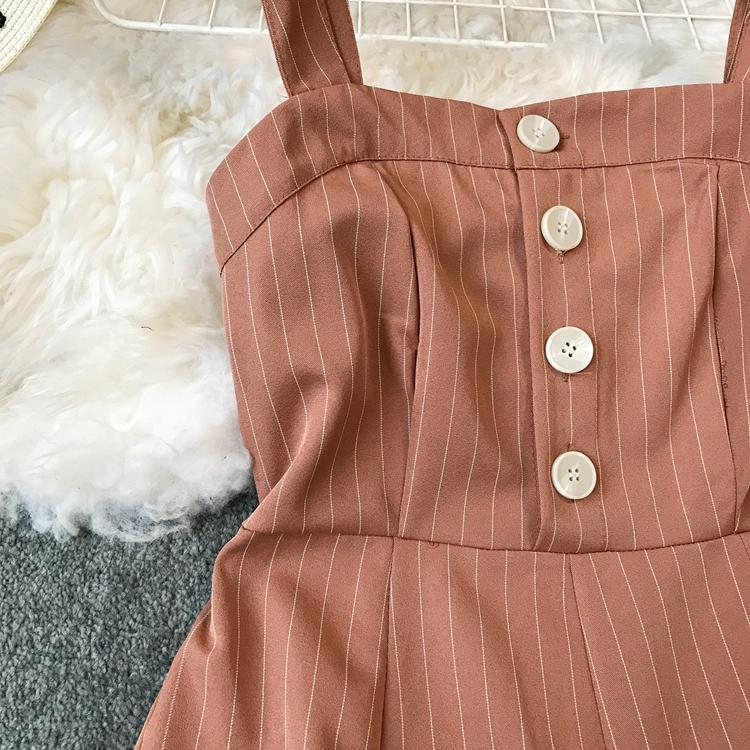 2019 Spring and Summer Korean New Stripe High Waist Open-back Jumpsuit Women Sleeveless Broad-legged Overalls G794 14