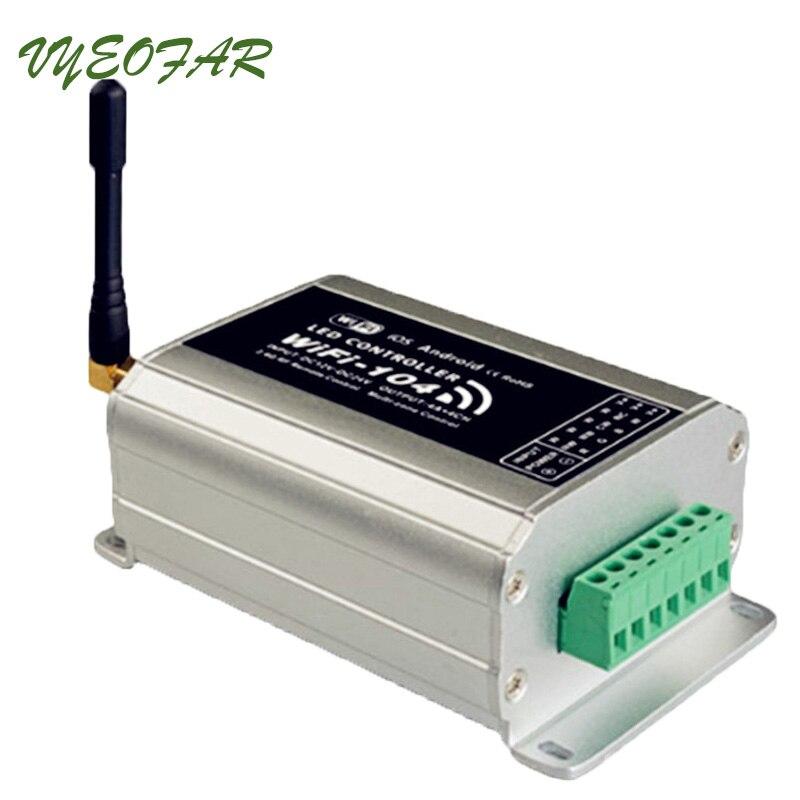 Новый WiFi 104 светодиодный контроллер Wi Fi с ИК пультом M12; 2,4 ГГц 12 зон контроллер; 4A x4CH с сенсорной панелью беспроводной приемник
