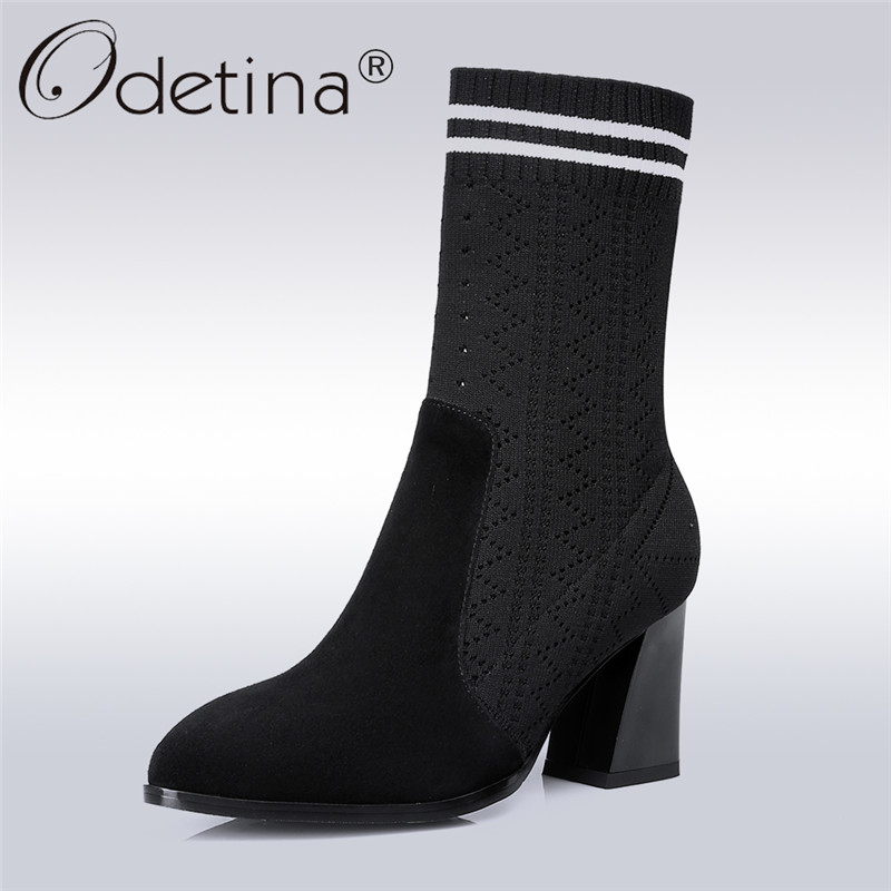 Odetina 2018 New Fashion Basic Woman Genuine Leather Sock Ankle Boots Lady Chunky Heel Shoes Pointed Toe Slip on Big Size 34-42