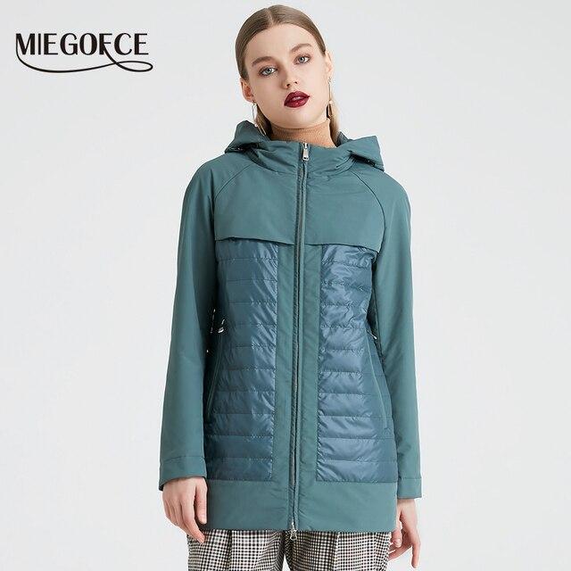 MIEGOFCE 2019 ใหม่แฟชั่นคอลเลกชันฤดูใบไม้ผลิฤดูใบไม้ร่วงแจ็คเก็ตสั้นสตรีพร้อม Windproof ฉนวนยุโรปสไตล์