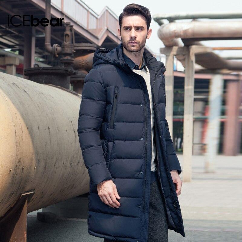Icebear 2019 เสื้อผ้าแจ็คเก็ตยาวหนาฤดูหนาว Men Solid Parka แฟชั่น Overcoat Outerwear 16M298D-ใน เสื้อกันลม จาก เสื้อผ้าผู้ชาย บน   3