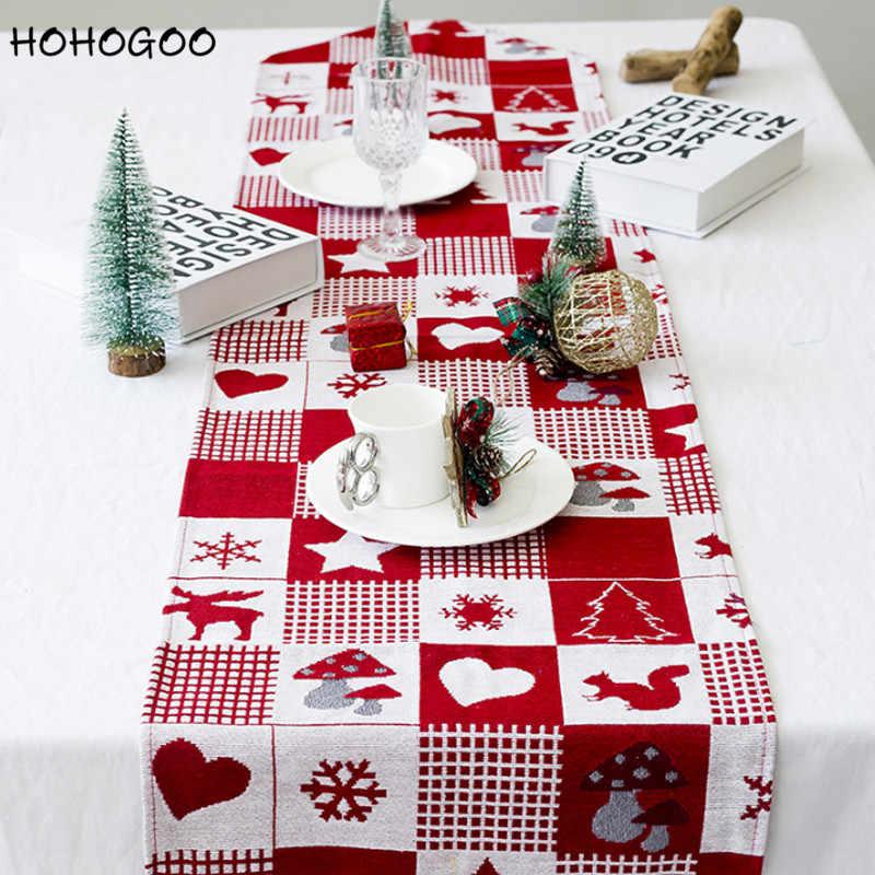 HOHOGOO 1 шт. 170*35 см Рождественская скатерть Новогодняя прямоугольная Красная