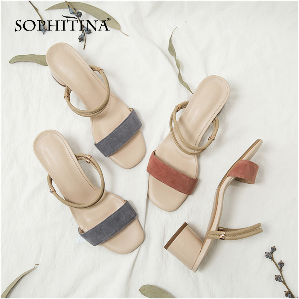 SOPHITINA Fashion Women s Sandals High Quality Kid Suede Comfortable Square Heel Basic Shoes New Leisure