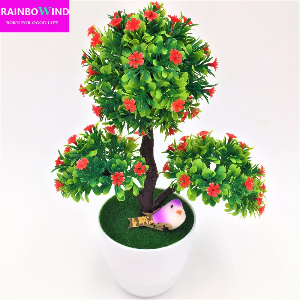 New arrival decorative flowers wreath Artificial flower bonsai Set fake flower plant pine trees with vase