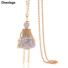 2017 new arrival  gold plated women's pendant necklaces doll necklace free shipping long link chain necklace jewelry hot sale