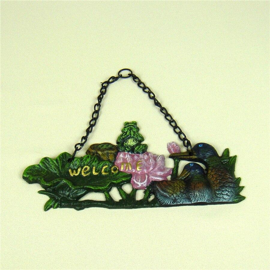 Pastoral Metal Yoga Frog Welcome Panel Door Hanging Cast Iron ...