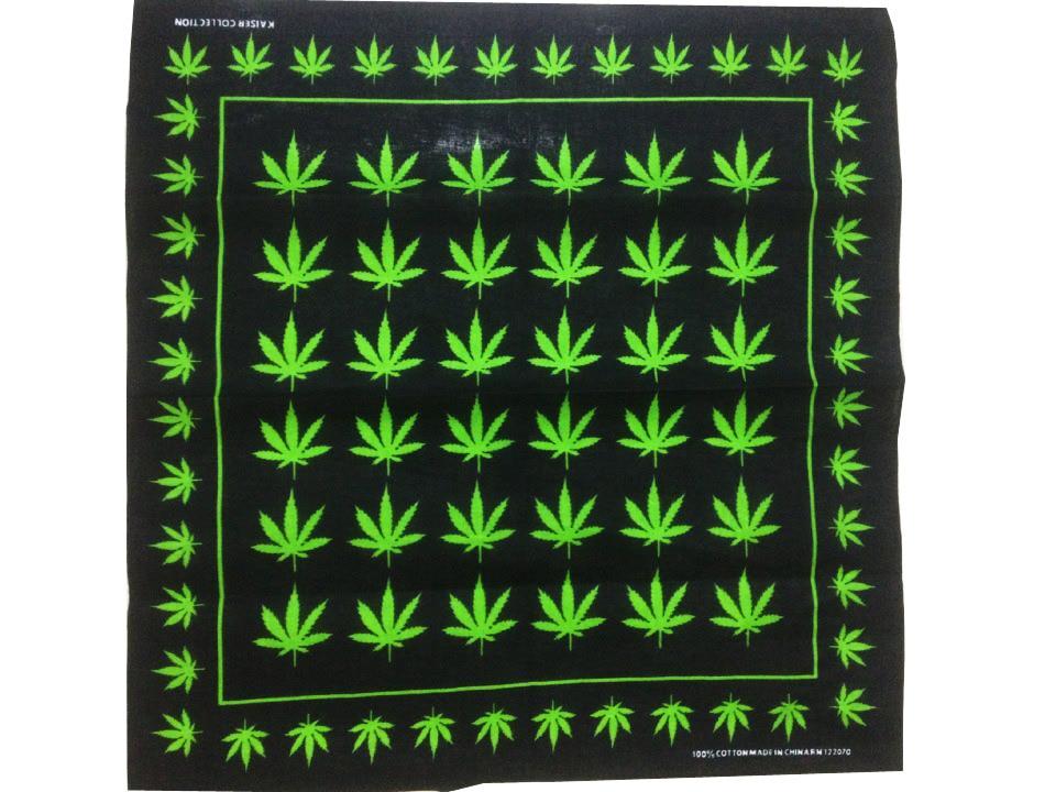 Free Shipping 2019 New Fashion Mens Green Weed Leaf Printed Bandanas