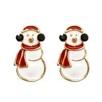 Famous Brand Fashion Jewelry Cute Epoxy Christmas Snowman Stud Earrings For Women With Black Acrylic Christmas Gift Bijoux Femme