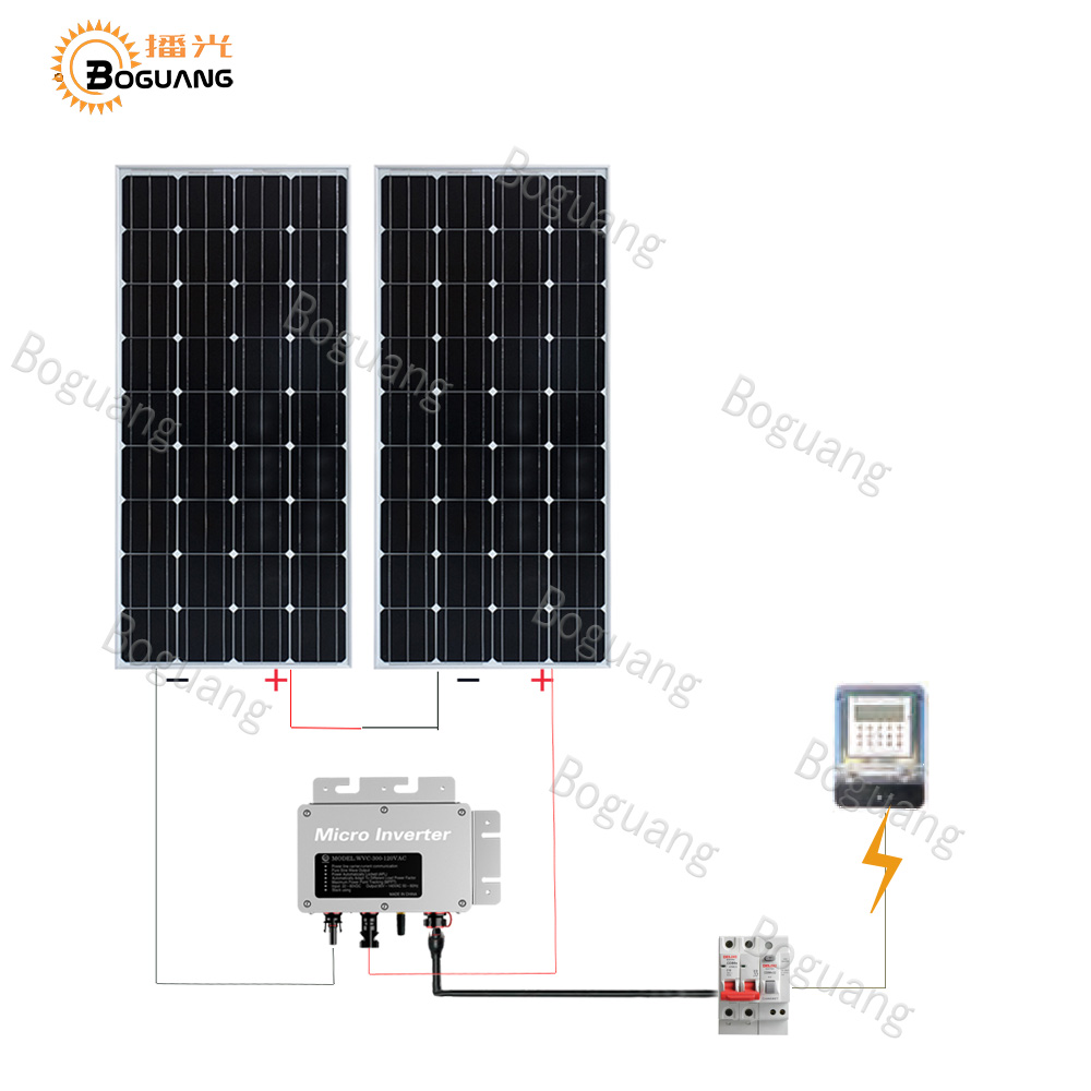 Boguang 300w grid system kit 3*100w solar panel Photovoltaic module cell Micro-inverter cable for home roof power charger boguang 300w solar panel 3 100w 30a controller 110v 220v 500w power inverter off grid 12 volt battery system 300 watt