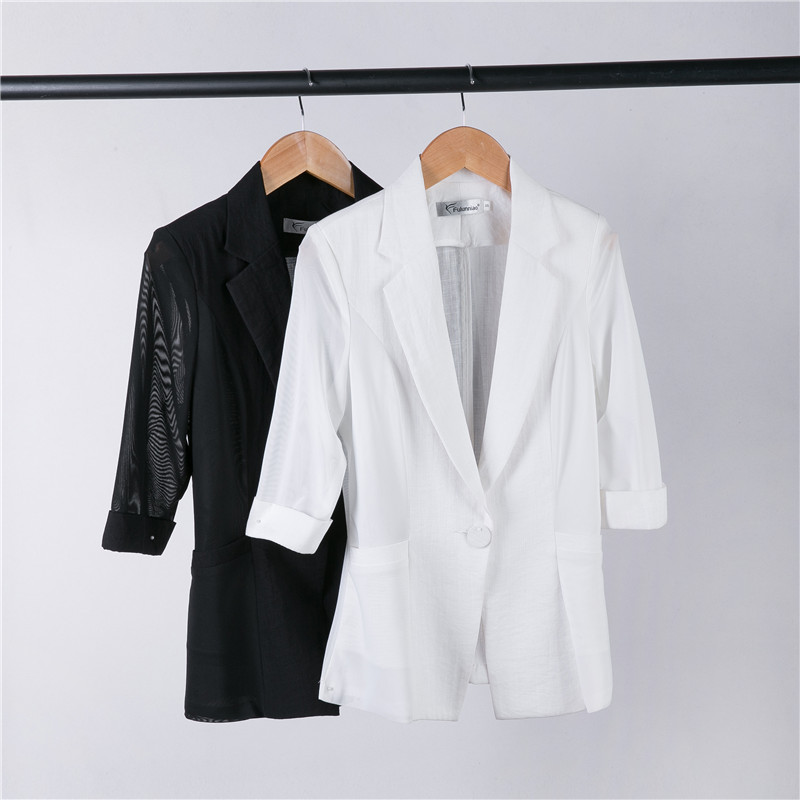 Summer Style Fashion Casual Ladies Office White Black Blazer Women Jackets  Half Sleeve Slim Female Work Clothes In Blazers From Womenu0027s Clothing ...