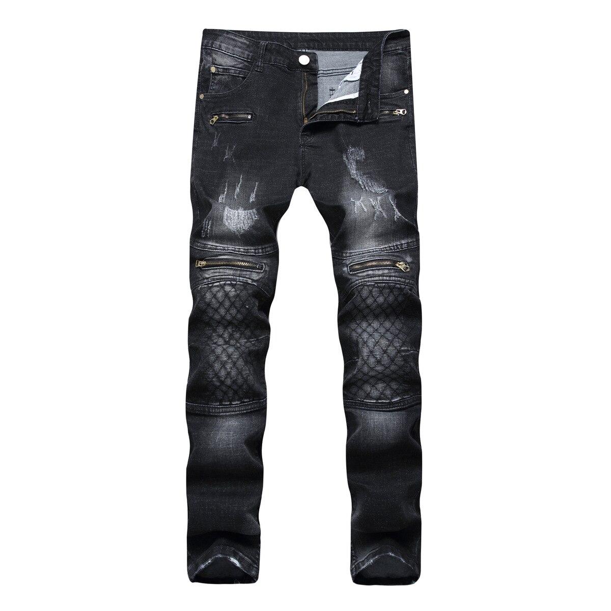 Man Black skinny straight Jeans Decoration Zipper Mens Elastic Force Pants homme street denim pantalon distressed jeans ripped
