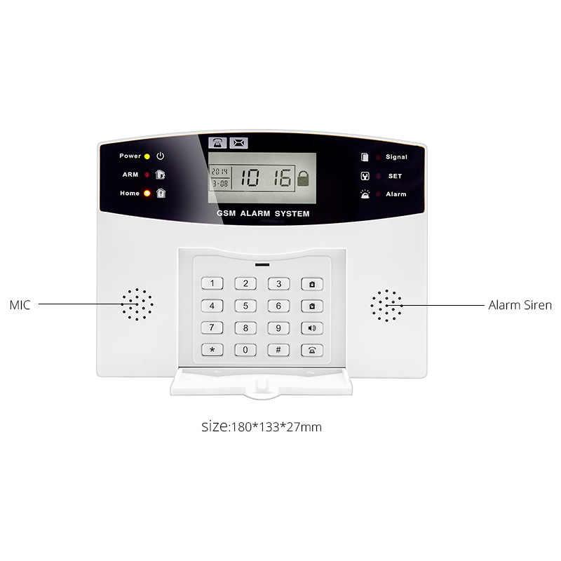 ระบบรักษาความปลอดภัยภายในบ้านโลหะรีโมทคอนโทรล Voice Prompt ประตูไร้สายจอแสดงผล LCD SIREN Kit ซิม SMS GSM นาฬิกาปลุก