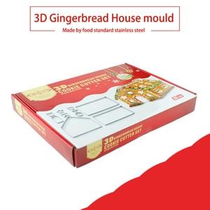 Image 3 - Conjunto de cortadores de galletas 3D de acero inoxidable para Navidad, molde para galletas, galletas, Fondant para casa, herramienta para hornear y cortar, 10 Uds.
