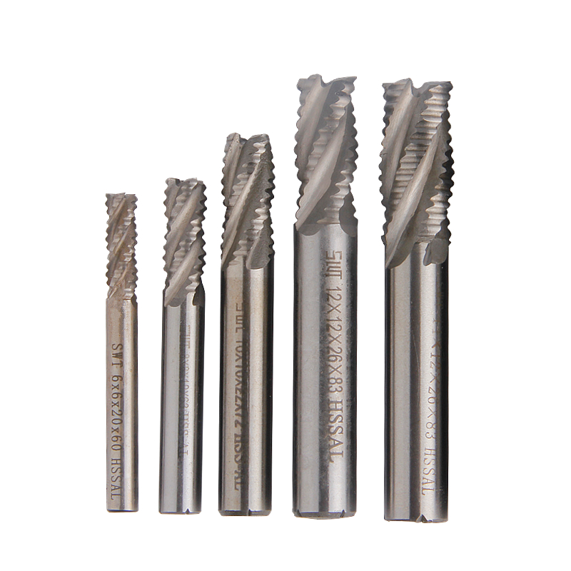 5pcs Roughing Milling Cutter Carbide End Mill 4 Flutes Spiral Router Bit 6/8/10/12/14mm Straight Shank CNC Mill Tools